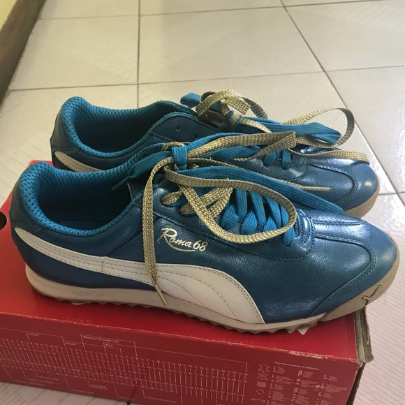 Puma Roma blue/gold sneakers Sz 10 NWT